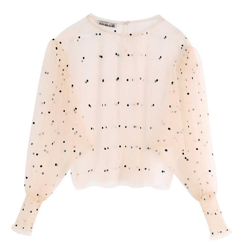 Fandy Lokar/полупрозрачные футболки с принтом в горошек, женские модные топы с круглым вырезом, женские элегантные футболки с длинными рукавами, женские футболки, HZ