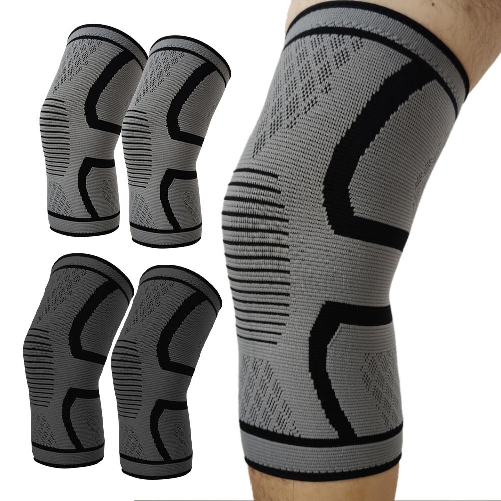1/2 шт. колено Поддержка подтяжки эластичные наколенники коленной протектор компрессионный рукав для бега, баскетбола,