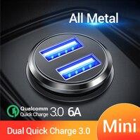 Fivi duplo usb carregador de carro rápido todo o metal carregador de carro pd qc 3.0 mini carregador de telefone do carro para o iphone 11 pro samsung huawei xiaomi