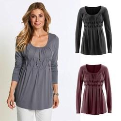 Осенние женские тонкие базовые футболки, одноцветные плиссированные футболки с рюшами, повседневные туники с круглым вырезом, футболки с д...