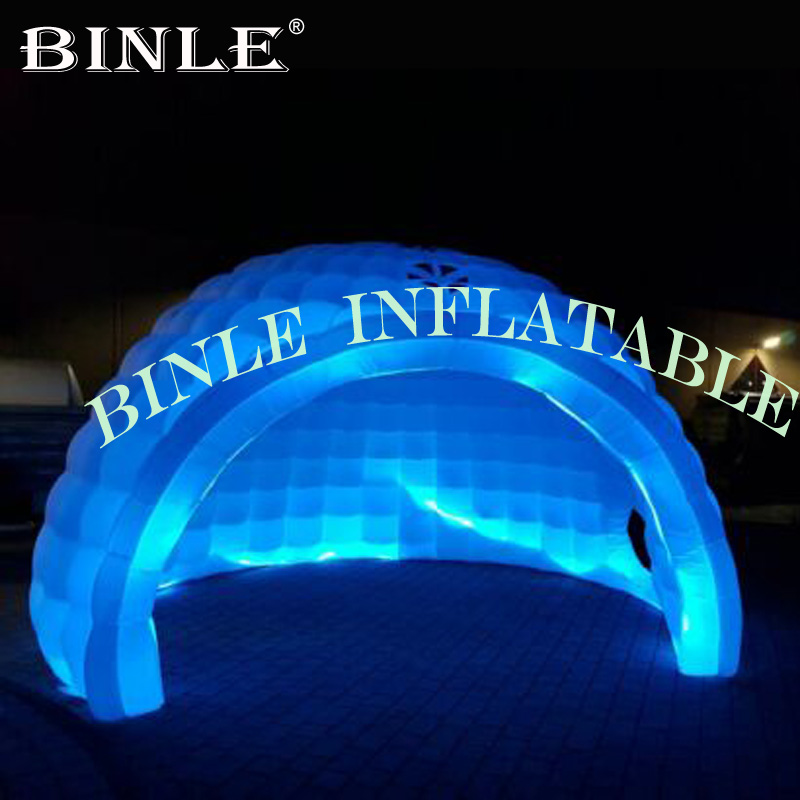 Waterproof airblown Led Lighting inflatable half dome tent white inflatable igloo for party/meeting/ event