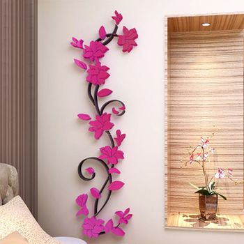 Fashion 3D DIY Removable Art Vinyl Wall Stickers Vase Flower Tree Decal Mural Home Decor For Home Bedroom Decoration Y13 12
