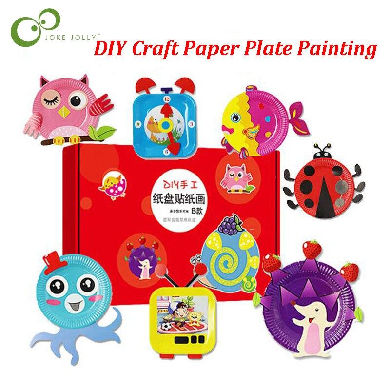 1 Set Bunte Tier Cartoon Papier Platte Zeichnung DIY Handgemachte Handwerk Spielzeug Material Paket Kinder Kreative Puzzle Spielzeug ZXH