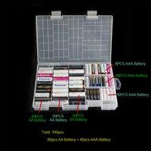1 adet 40XAAA pil + 60XAA pil tutucu kılıf taşınabilir plastik batarya saklama kutusu kutusu/organizatör/konteyner aa aaa Rangement kazık