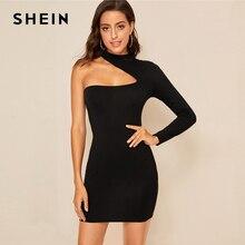 SHEIN الأسود بوهو الصلبة واحد الكتف غير المتكافئة مثير Bodycon فستان المرأة 2019 الخريف طويلة الأكمام ليلة خارج السيدات فساتين قصيرة