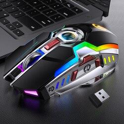 Redstorm Mouse Gaming Nirkabel Isi Ulang Diam LED Backlit USB Optical Ergonomis 7 Tombol RGB Backlit untuk Komputer Laptop