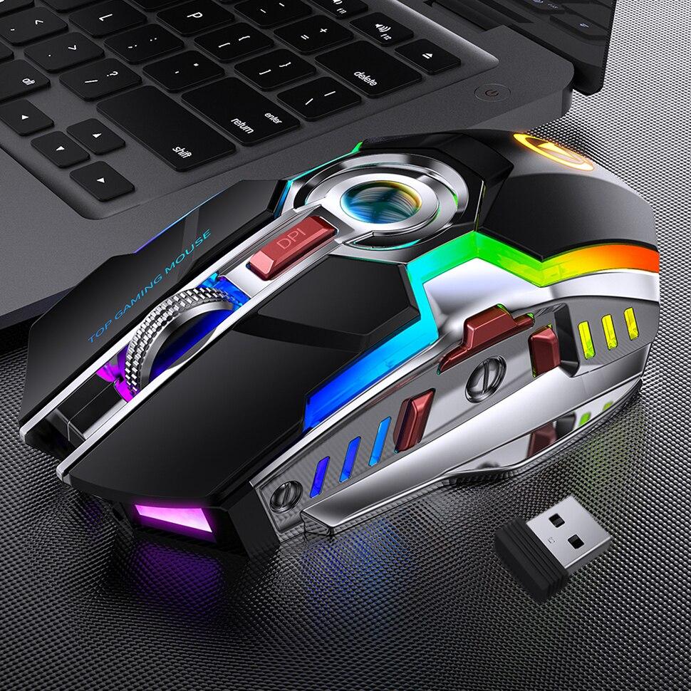Redstorm Wireless Gaming Mouse Rechargeable Silent LED Backlit Mice USB Optical Ergonomic 7 Keys RGB Backlit For Laptop Computer