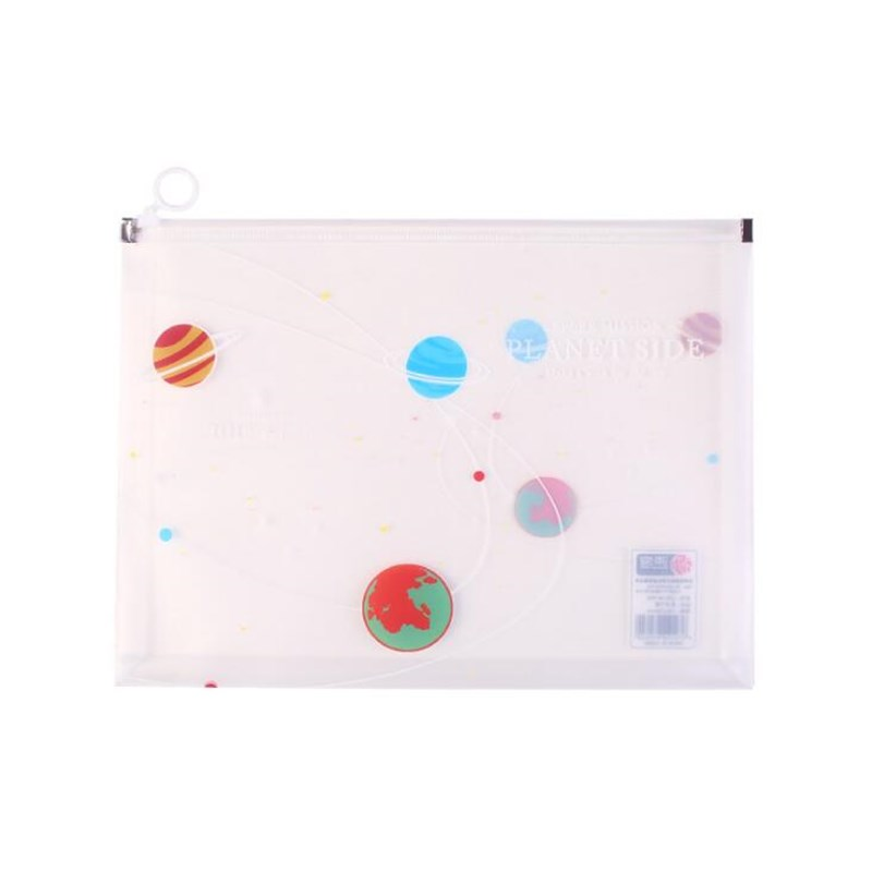 4pc/sets Student Stationery Transparent Envelope A4 Folder Information Kit Cute Cartoon  Ring Plastic School Prizes File