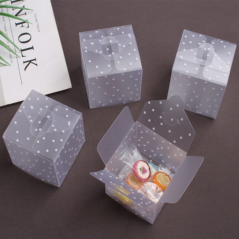 10/20p 4 5 6cm Dot Translucent Pvc Square Candy Box Cookie Packing Box Jewelry Gift Box Baby Shower Birthday Wedding Party Decor