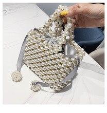 Pearl bag female shoulder bag woven bag net red ins summer retro niche handmade beaded wild handbag недорого