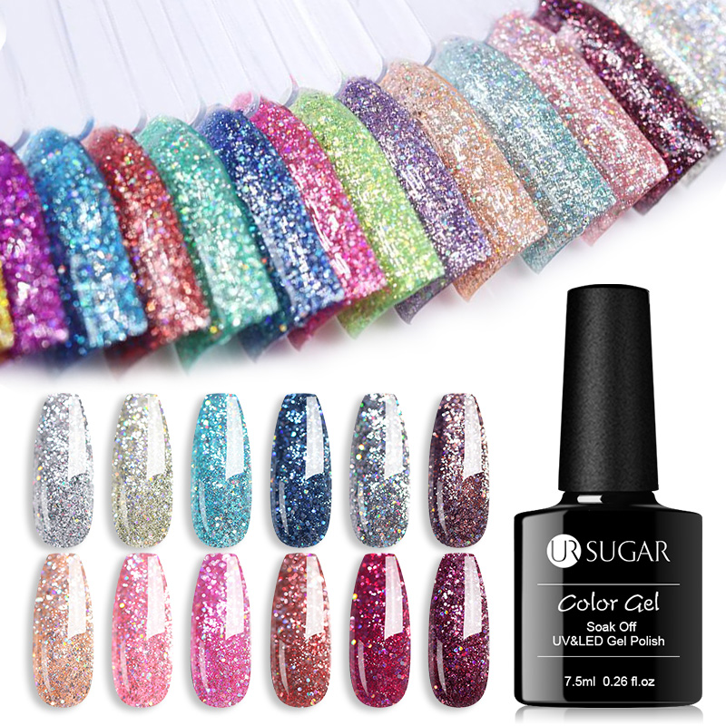 UR SUGAR 7.5ml Platinum UV Gel Nail Polish  Colorful Glitter Sequins Gel Varnish Soak Off UV LED Color Gel Polish DIY