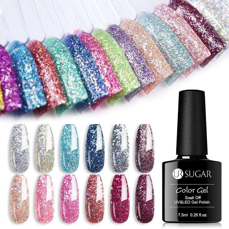 UR SUGAR 7.5ml Platinum UV Gel Nail Polish  Colorful Glitter Sequins Gel Varnish Soak Off UV LED Color Gel Polish DIY