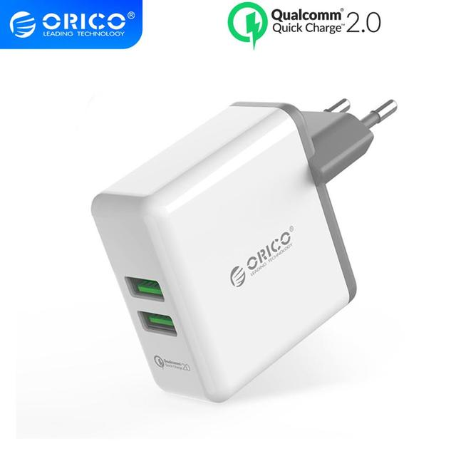ORICO QC2.0 Fast Charger Dual Port Wall Charger 36W Mobile Phone USB Charger Adapter for iPhone Samsung Xiaomi Huawei Htc