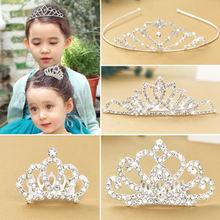 1 шт новая Стразы Блестящая Корона повязка на голову для девочек;