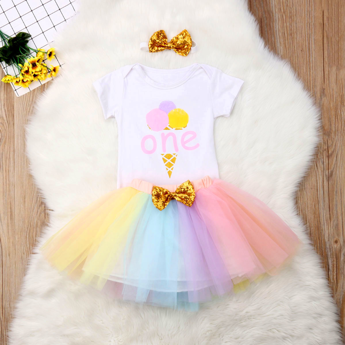 Baby Girl Birthday Floral Letter Print Tutu Skirts+Jumpsuit+Headband Set Outfits