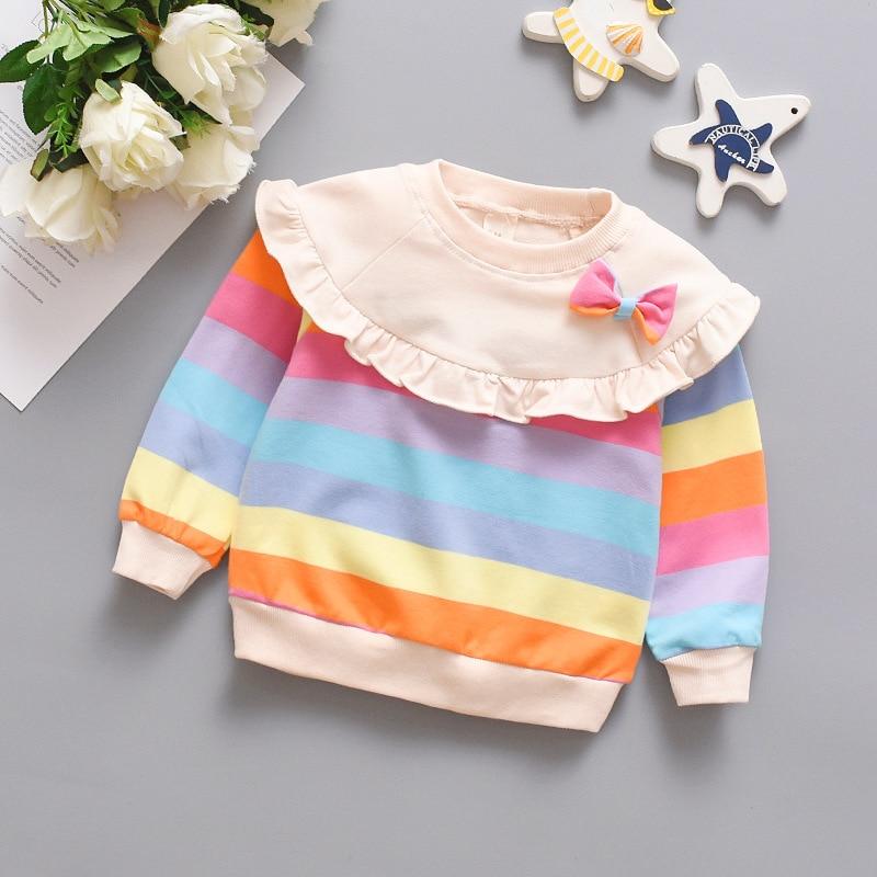 Spring Autumn Long Sleeve Baby Girl Clothes Cute Bowknot Rainbow Stripe Girls Sweatshirt Comfortable Cotton Pullover Kids Jacket 2