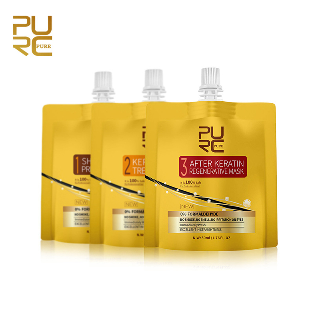 3PCS PURC Keratin Hair Treatment Set 0% Fomalin Repair Damaged Frizzy Hair Straightening No Irritation Scalp Hair Care Products