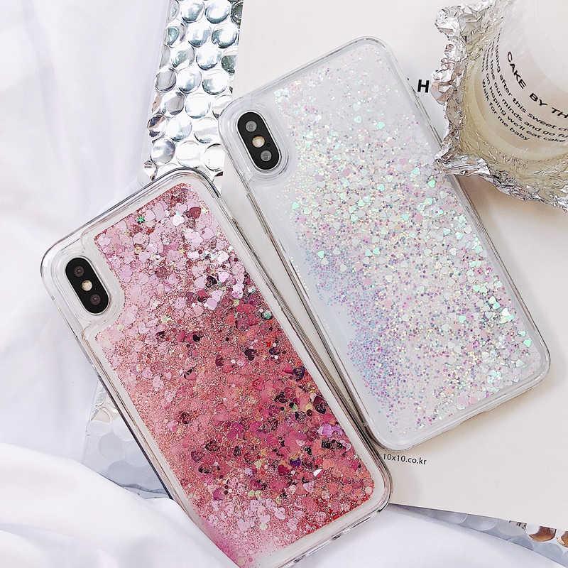 Bao Da Dành Cho iPhone 6 6S 7 8 Plus X XS XR Max Trái Tim Lấp Lánh Ốp Lưng Điện Thoại Tiểu mi Mi A3 CC9 CC9E 9T Đỏ MI Note 6 7 7A K20 Pro