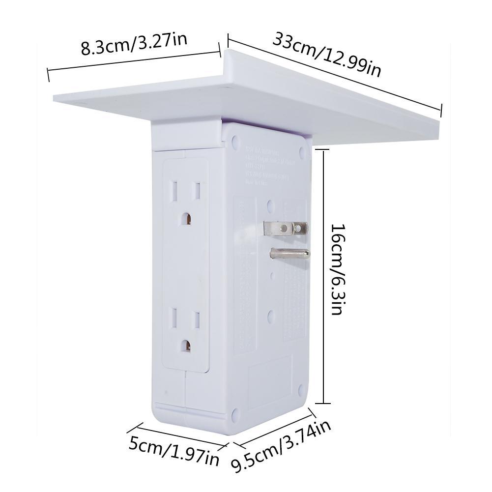 Купить с кэшбэком Wall Socket Shelf 8-port Socket Storage Rack Removable Built-In Shelf Storage Bathroom Shelf Socket Holder 2 USB Charge Port US