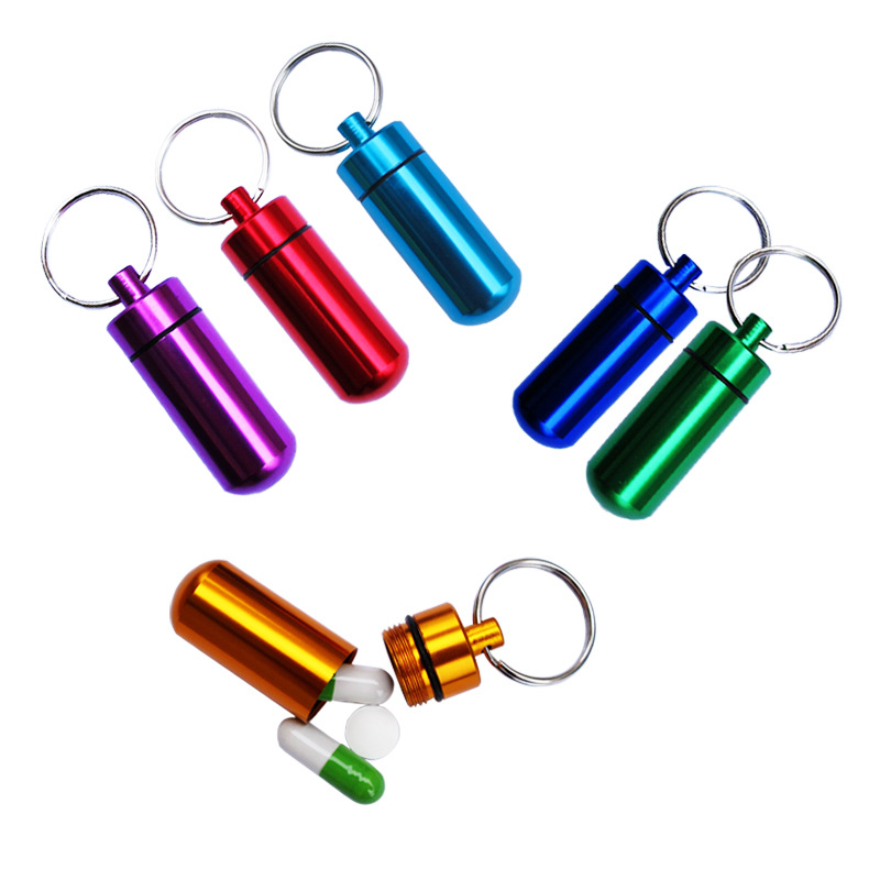 Round First Aid Aluminum Alloy Medicine Bottle Pill Box Outdoor Novelty Keychain Portable Waterproof Cartridge Box Sealed