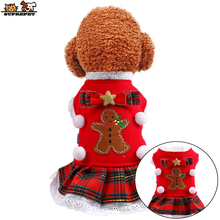 a dog for christmas SUPREPET Pet Dog Clothes Christmas Dog Clothes Lace Neckline Dog Christmas Clothes Bow-knot Tie Lovely Dog Jacket for Chihuahua