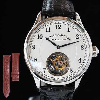Tourbillon montre mécanique homme Sugess mouette mouvement mode Argent homme affaires Crocodile cuir horloge hommes montre