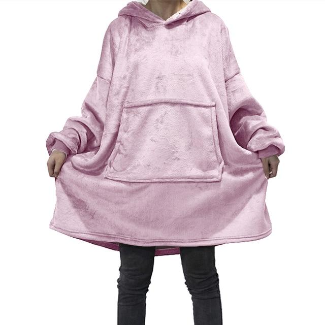 Winter Oversized Hoodies Women Fleece Warm TV Blanket with Sleeves Pocket Flannel Plush Thick Sherpa Giant Hoody Long Sweatshirt 6