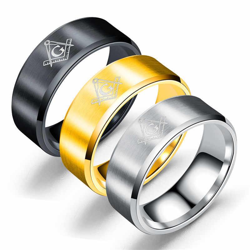 Anillos masónicos de acero titanio para hombre, fibra de carbono, 8mm, anillo, joyería Punk femenina masculina, anillos de compromiso de plata para mujer, boda Ri