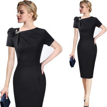 Vestido de talla grande para mujer, 3XL, ropa elegante Vintage con Pinup y lazo, vestido informal de trabajo para oficina, vestido ajustado con tubo para fiesta, verano 2020