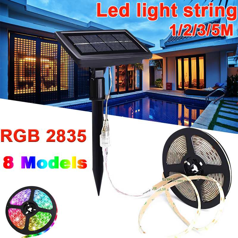 1/2/3/5M 60 Led Solar LED Light Multicolor RGB Solar LED String Light Holiday Outdoor Led Strip For Christmas Party Wedding