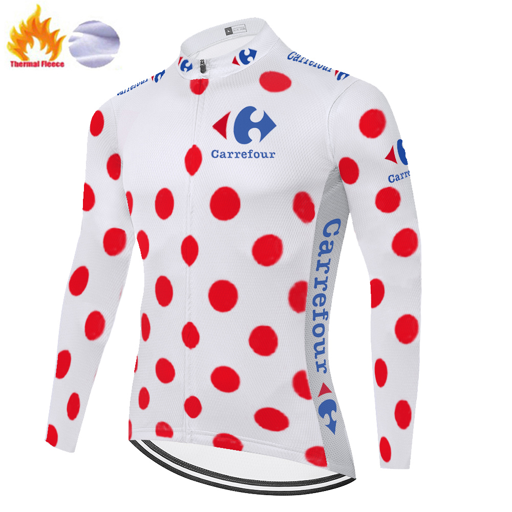 New Tour New De France Cycling Jersey Long Sleeve Men Winter Thermal Fleece Cycling Clothing MTB Bike Jersey Maillot Ciclismo