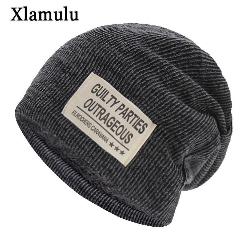 Xlamulu Fashion Skullies Beanies Knitted Hat Winter Hats For Men Beanie Soft Gorros Bonnet Caps Women's Ski Sports Winter Cap