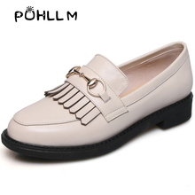 2019 Spring Single Shoes New Simple British Style Leather Women Fashion  ShoesD17