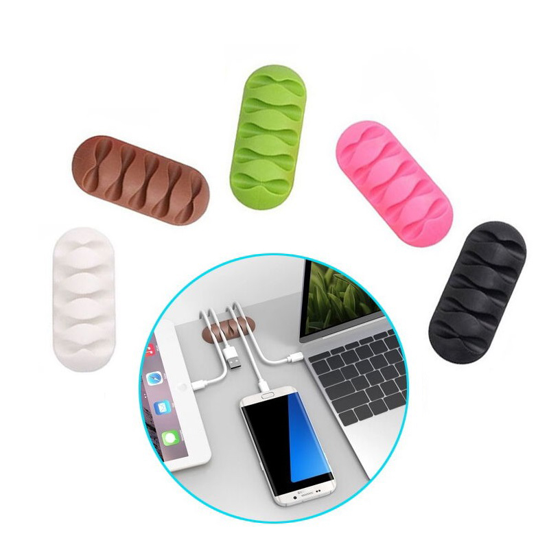 Multipurpose Desktop Phone Cable Winder Earphone Clip Charger Organizer Management Wire Cord Fixer Silicone Holder 5 Slot Strip