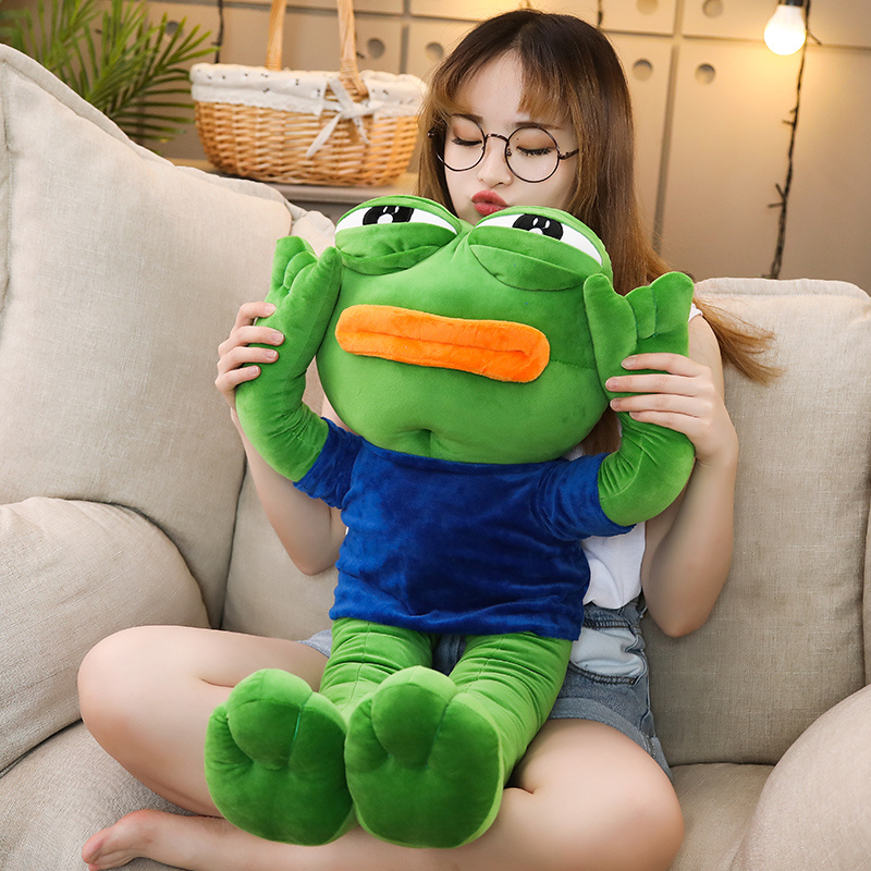 Hot New 1pc 50-90cm CuteMagic Expression Pepe The Frog Sad Plush 4chan Meme Dolls Stuffed Animal Toy Kawaii Gift For Girls Kids
