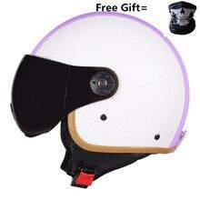 2019 newest PU Leather Helmets 3/4 Motorcycle Chopper Bike helmet open face vintage motorcycle Brown color