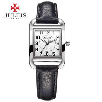 Marke Julius Casual Frau Modus Silber Rose Gold Rechteck Leder Strap Platz Berühmte Design Beliebte Uhr Luxus Uhr JA-954