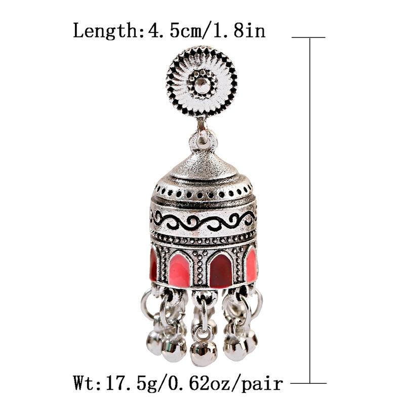 H1721e81cf86f41078357193006c8a3e0J - Retro Bollywood Oxidized Womens Jewellery Ethnic Silver Plated Afghan Bell Tassel Drop Jhumka Indian Earrings Wedding Jewelry