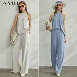 AMII минимализм весна лето 2 шт набор Холтер Твердые Женские блузки Топы Высокая талия Свободные повседневные брюки 12070272