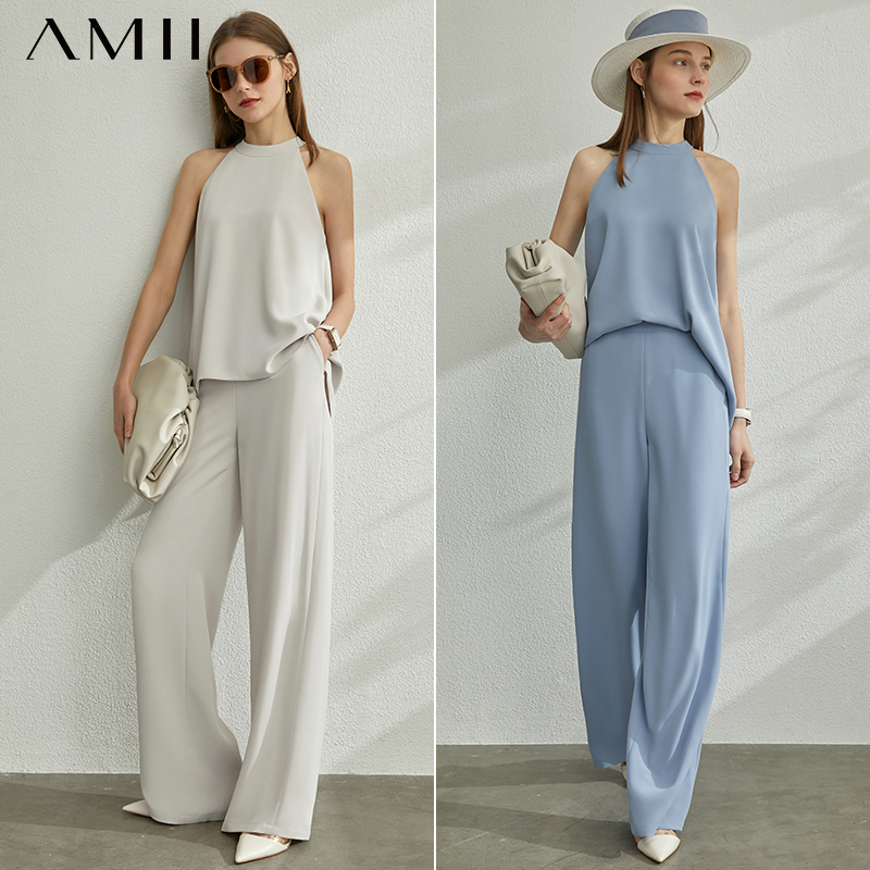 AMII Minimalism Spring Summer 2pcs Set Halter Solid Women Blouse Tops High Waist Loose Causal Pants 12070272