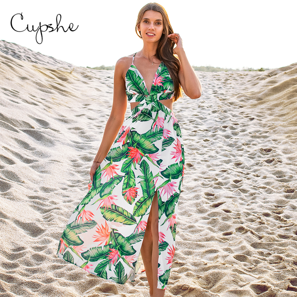 CUPSHE Bird of Paradise <font><b>Backless</b></font> Midi <font><b>Dress</b></font> Woman <font><b>Sexy</b></font> V-neck Cut Out <font><b>Lace</b></font> Up Split <font><b>Dresses</b></font> 2019 Beach Summer Sundress Vestidos image