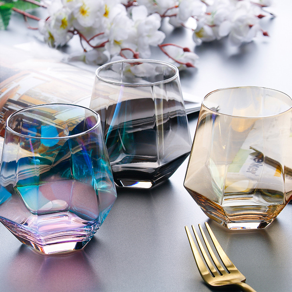 Geometry Whiskey Glass Diamond Crystal Glass Cup Golden Rim Transparent Coffee Milk Tea Mug Home Bar Drinkware Couple Glass Cup|Transparent| |  - title=