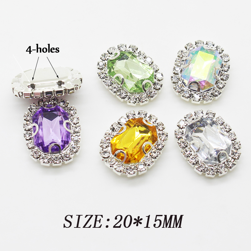 New Style 10pcs Arc Rectangle Rhinestone Acrylic Buttons For Clothing DIY Decorative Crafts Sewing Accessories Metal 20*15mm