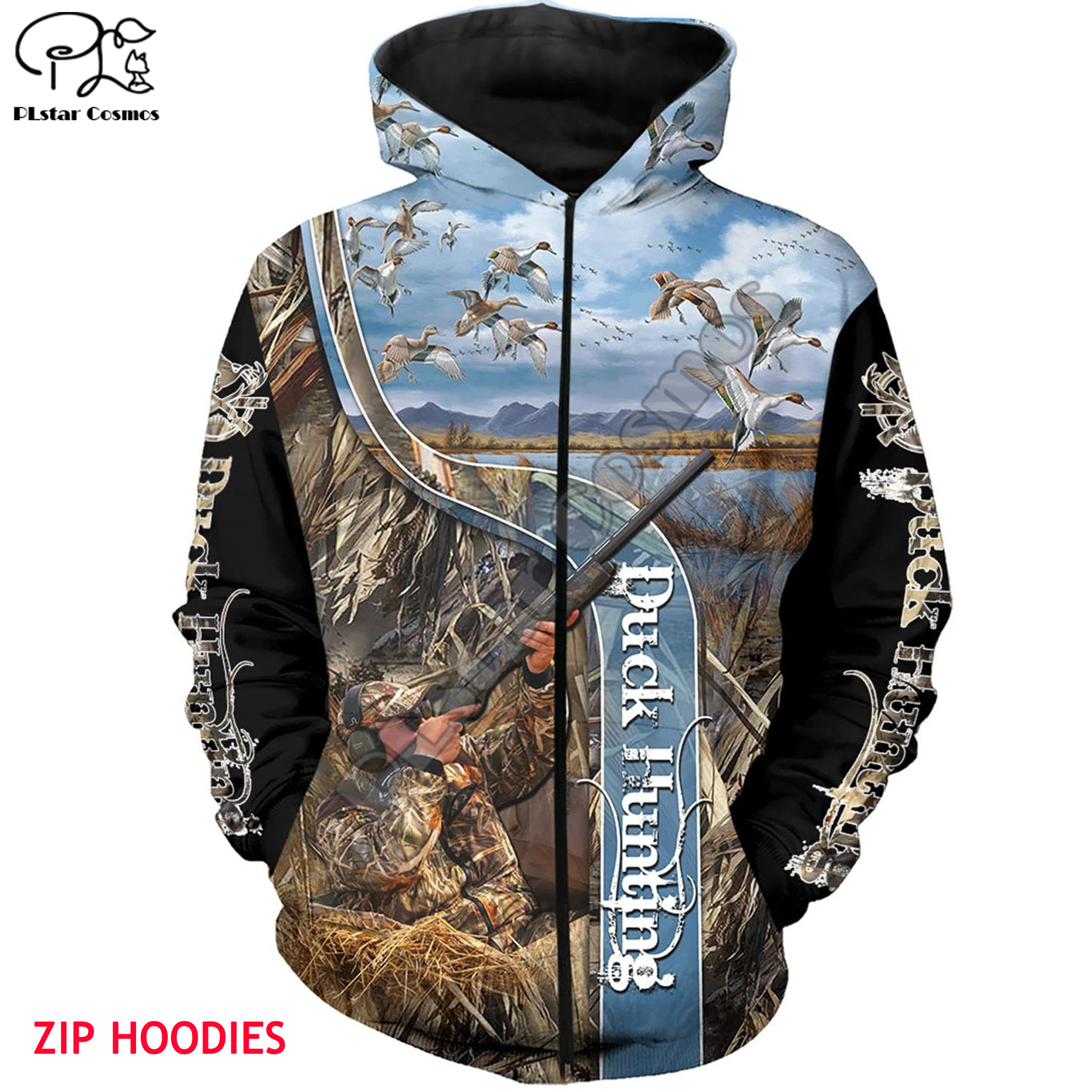 Duck Hunting 3d All Over Printed Unisex Hoodies Harajuku Fashion Casual Hooded Sweatshirt Zip Hoodies