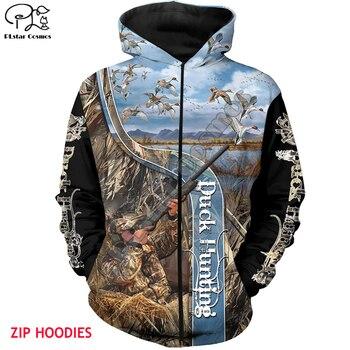 цена на Duck Hunting 3d all over Printed Unisex hoodies Harajuku Fashion Casual Hooded Sweatshirt zip hoodies