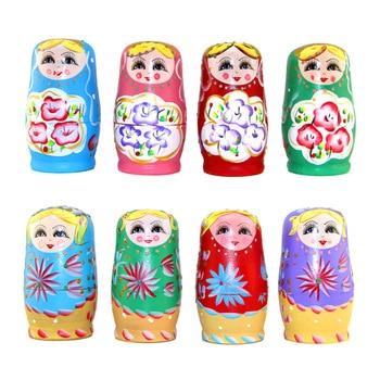 hot 5pcs/SET Wooden Russian Nesting Dolls Braid Girl Russia Traditional Matryoshka Dolls Matrioska Toy Xmas Gift toys for girls 5pcs set russian nesting dolls wooden matryoshka doll handmade painted
