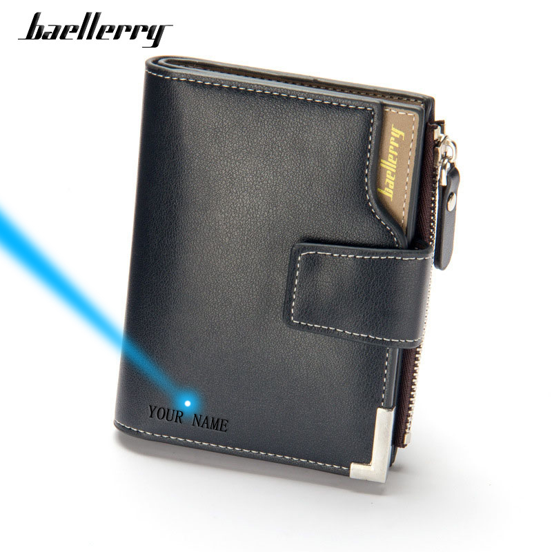 Baellerry Luxury High Quality Male Clutch Men Short Black Wallets PU Leather Photo Card Holder Coin Pocket Purse Men's Money Bag(China)