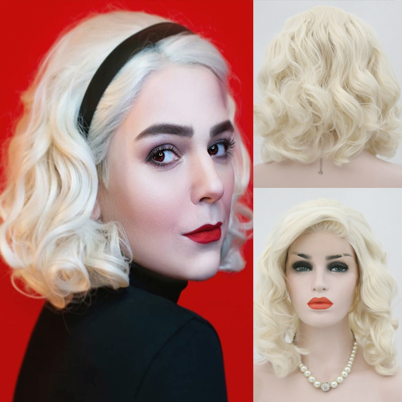 RONGDUOYI Shoulder Length Synthetic Lace Front Wig Blonde Wigs For Women Natural Wave Short Bob Wig With Side Part Blonded Wigs