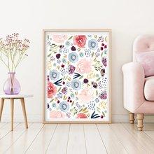 Картина с акварелью и цветами на холсте Постер в минималистическом