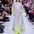AELESEEN Runway Fashion White Dress Women 2020 High Quality Spring Dress See Through Lantern Sleeve Flower Embroidery Long Dress